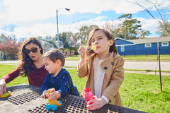 Mime a la hija y al hijo en las burbujas que soplan del parque Foto de archivo libre de regalías
