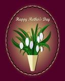 Mime a la tarjeta de felicitación del día del ` s con el fondo de las flores Snowdrops blancos ilustración del vector