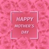 Mime a la tarjeta de felicitación del día de s con las flores del clavel Foto de archivo libre de regalías