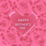 Mime a la tarjeta de felicitación del día de s con las flores del clavel Fotografía de archivo