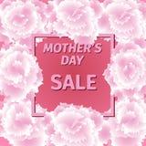 Mime a la tarjeta de la venta del día de s con las flores del clavel Foto de archivo libre de regalías