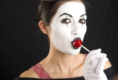 White Face Mime with Red Candy Lolipop Treat Stock Photos