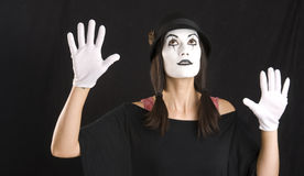 Female Clown Mime Looks Up in White Face Royalty Free Stock Photo