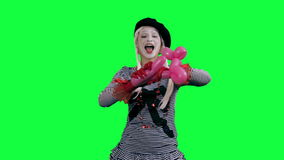 Mime makes figure of the balloon stock video footage