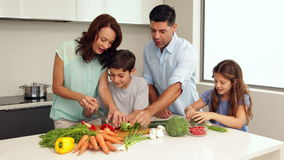 Mime mostrando a sus niños cómo tajar verduras almacen de video