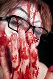 Mime nos vidros com sangue Fotografia de Stock