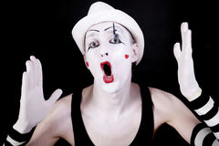 Mime with open mouth in white ha Stock Images