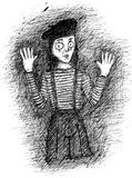 Mime pen and ink drawing Royalty Free Stock Photos