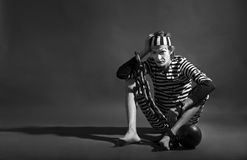 Mime prisoner over dark background Stock Photo