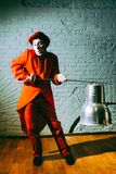Mime put on a metal sword and someone parodies Royalty Free Stock Photography