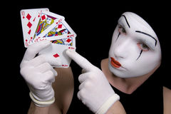 Mime  with royal flush Royalty Free Stock Photo