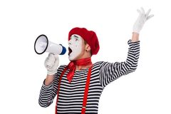 mime speaking in megaphone and gesturing royalty free stock photos