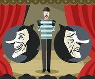 Mime on stage playing theater sad and happy masks Royalty Free Stock Photo