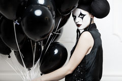 Mime stylized fashion close-up partrait Royalty Free Stock Image