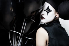 Mime stylized fashion close-up partrait Royalty Free Stock Images