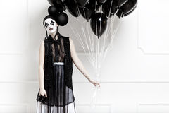 Mime stylized photo of a young beautiful woman Royalty Free Stock Photo