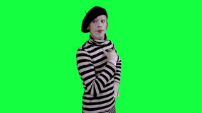 The mime thinks about something stock video footage