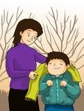 Mime toman niños, el niño y a la mamá del cuidado Fotos de archivo libres de regalías