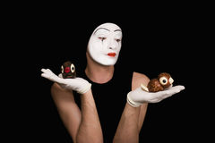 Mime with toy birds Stock Images