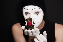 Mime with toy birds Stock Image