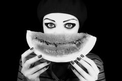 Mime with a water-melon piece Stock Photo