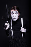 Mime with weapon Royalty Free Stock Photos
