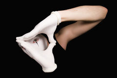 Mime in white gloves Stock Images