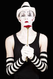 Mime in white hat Stock Photography