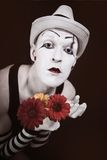 Mime in white hat with bouquet of red gerberas Royalty Free Stock Photography