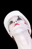 Mime in white hat isolated on black background Stock Photography