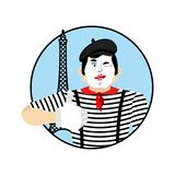 Mime winks and thumb up. Happy pantomime. Merry mimic. Vector il Royalty Free Stock Images
