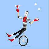 Mime winter performance on unicycle Royalty Free Stock Photography
