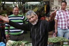 Mimer palestinien sur le marché arabe à Jérusalem Photo libre de droits