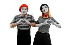 Mimes που κάνει μια μορφή καρδιών στοκ εικόνα