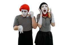 Mimes που μιλά στο τηλέφωνο στοκ εικόνες