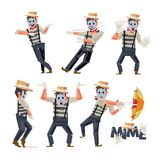 Mimes character design in funny action - vector Stock Images