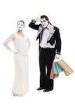 Mimes di Shopaholic Fotografie Stock Libere da Diritti
