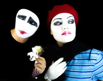 Mimes with a flower Royalty Free Stock Images