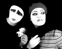 Mimes with a flower Royalty Free Stock Photography