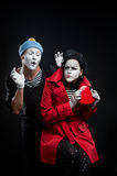 Mimes in love Stock Image
