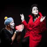 Mimes in love Stock Images