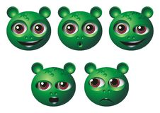 Mimic Head icons. With bulging eyes Royalty Free Stock Images