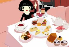 Mimmy`s adventures at breakfast table royalty free illustration