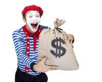 Mimo con la borsa dei soldi Attore divertente emozionale fotografie stock