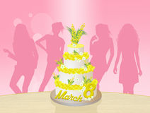 Mimosa cake for Women's day Royalty Free Stock Image