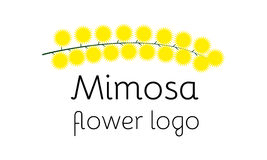 Mimosa flower logotype. Perfect logo for flower shop, beauty salon or cosmetician shop stock illustration