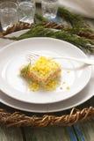 Mimosa hecha en casa tradicional de la ensalada con los pescados, las verduras y los huevos Una porción Vida soviética Estilo rús Fotografía de archivo