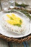 Mimosa hecha en casa tradicional de la ensalada con los pescados, las verduras y los huevos Vida soviética Estilo rústico, foco s Fotografía de archivo libre de regalías