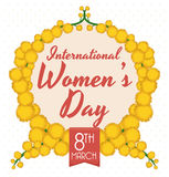 Mimosa's Wreath with Women's Day Message Inside, Vector Illustration Royalty Free Stock Photos