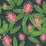 Mimosa Seamless Pattern_eps. Illustration of mimosa seamless pattern. --- This .eps file info Version: Illustrator 8 EPS Document: 5 * 5 Inches (Width * Height) stock illustration